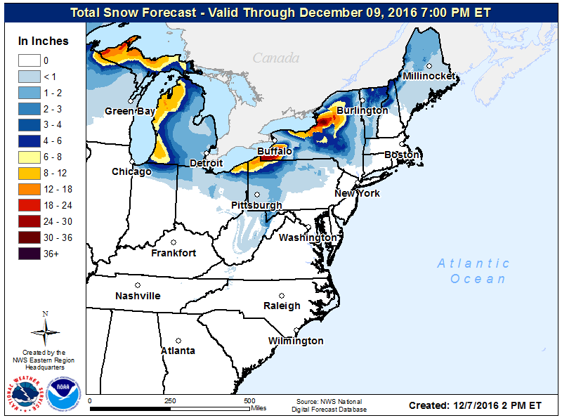 National Weather Service forecast snowfall map through Dec. 9 for Eastern U.S. (NWS)