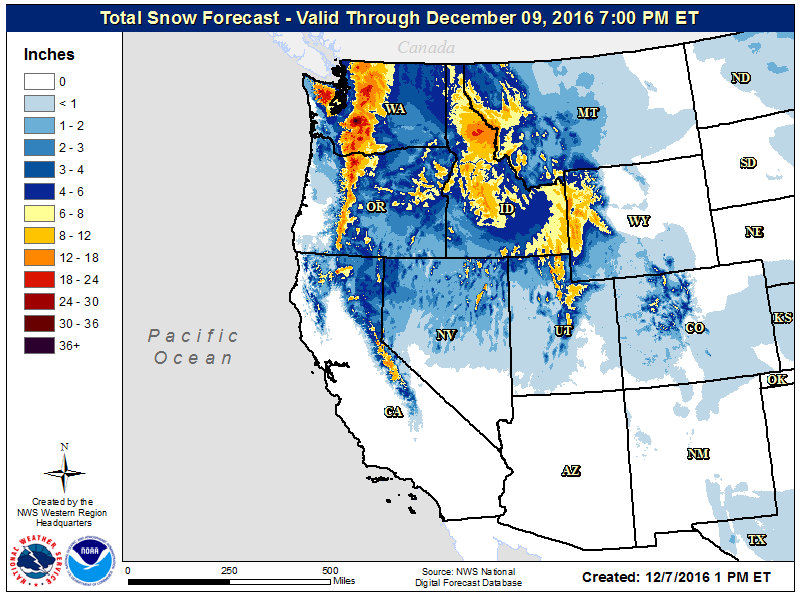 National Weather Service forecase snowfall map through Friday, December 9 for the western US.