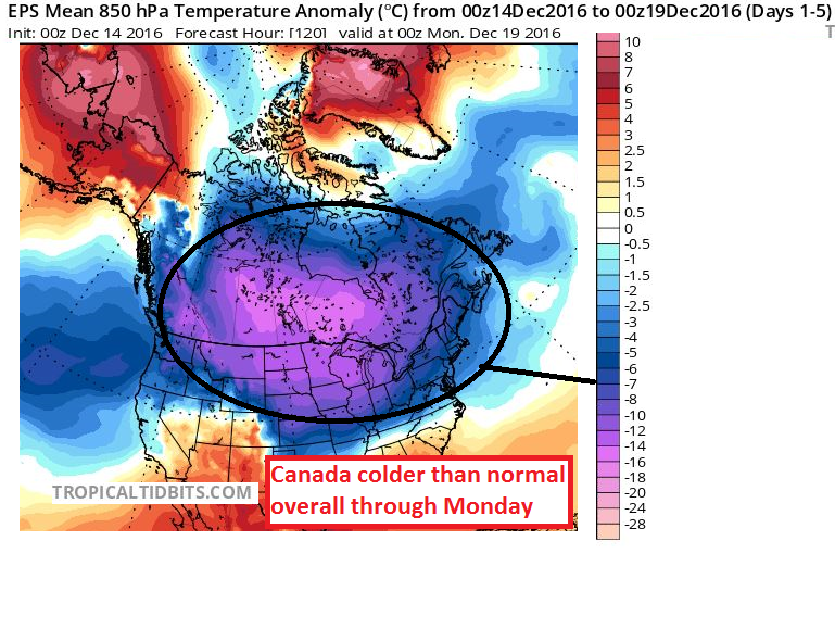 Cold temps remain in place for Canada over the next 5 days