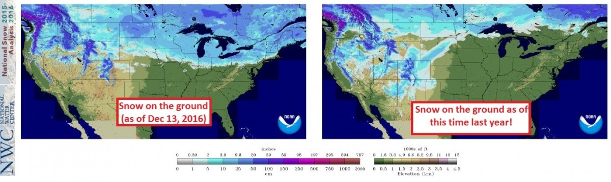 Snow cover comparison from this year to last year.