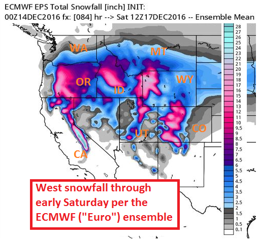 Snow forecast from the European ensemble output model.