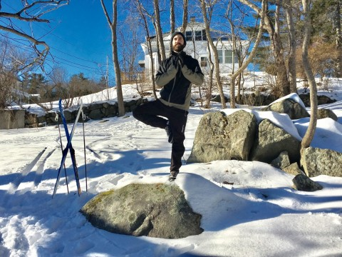 Yoga Instructor Trevor Lohr stikes pose in Lebanon, NH.