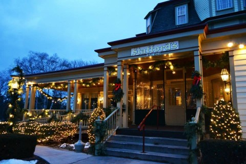Stafford's Bay View Inn dressed for the winter season.