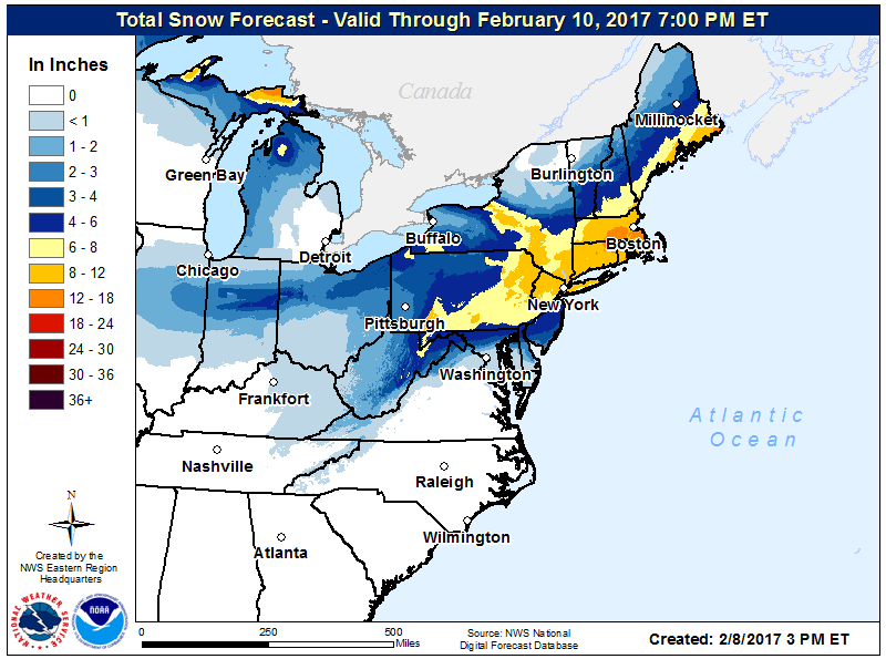 Forecast snow amounts through Feb. 10. (National Weather Service)