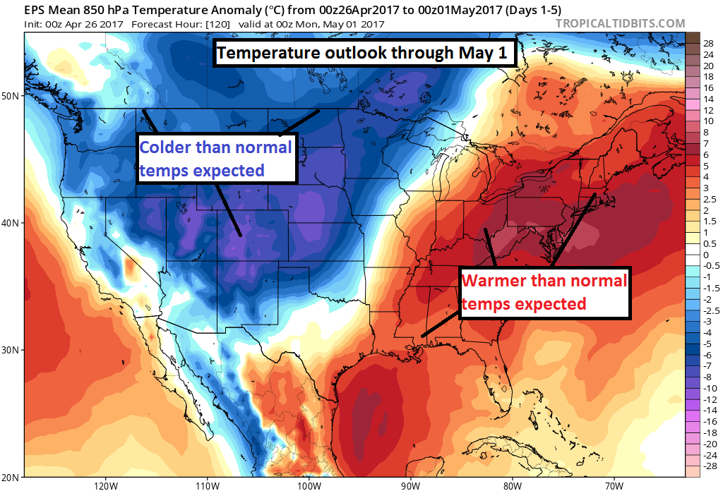 Temperature outlook over the 5 day stretch of April 26 through May 1 (tropicaltidbits.com)
