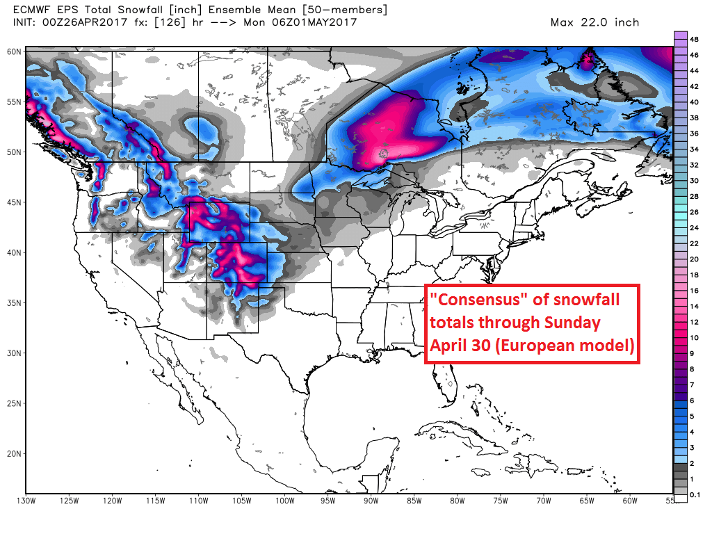 Model forecast snowfall through the end of the weekend (WeatherBell.com)