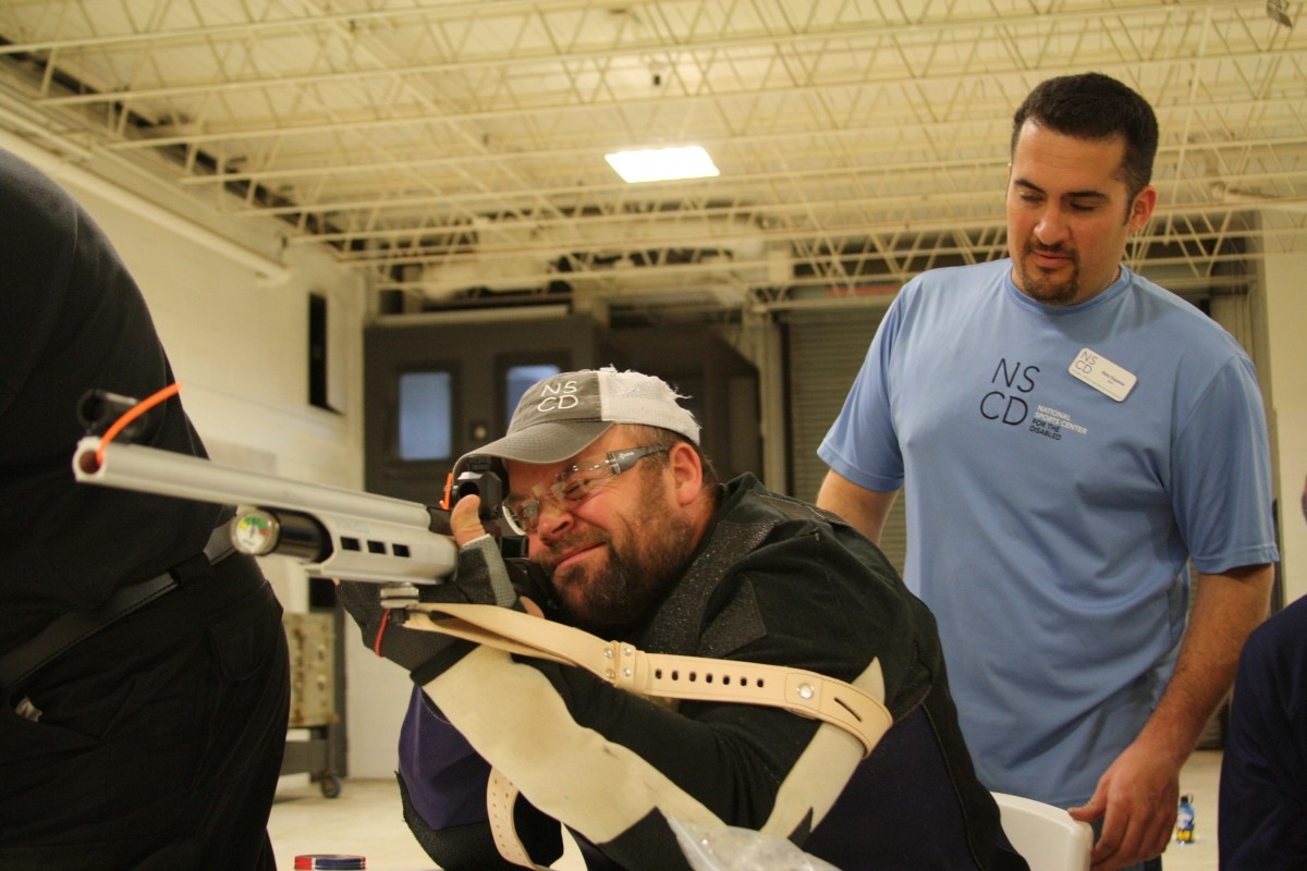 Military veterans participate in NSCD's competitive air gun program. NSCD photo.