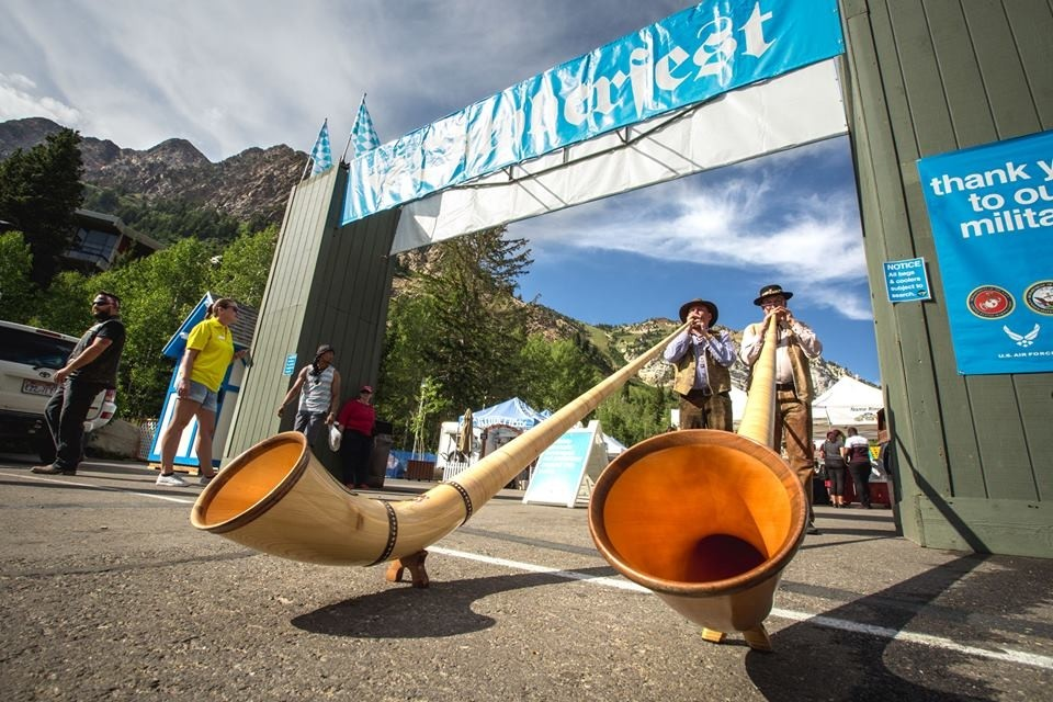Blowin' the alphorn at Snowbird. (Snowbird/Facebook)