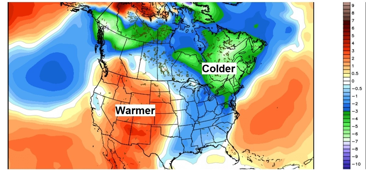 Colder-than-average temperatures Sunday, November 12 to Thursday, November 16 portrayed in blues and greens, while warmer-than-average temperatures are portrayed in oranges. (NCEP/CFS)