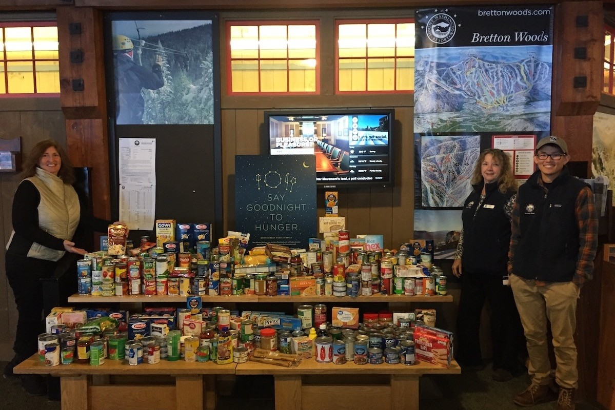 Skiers and riders earned their turns by donating food to local food pantries.(Bretton Woods)