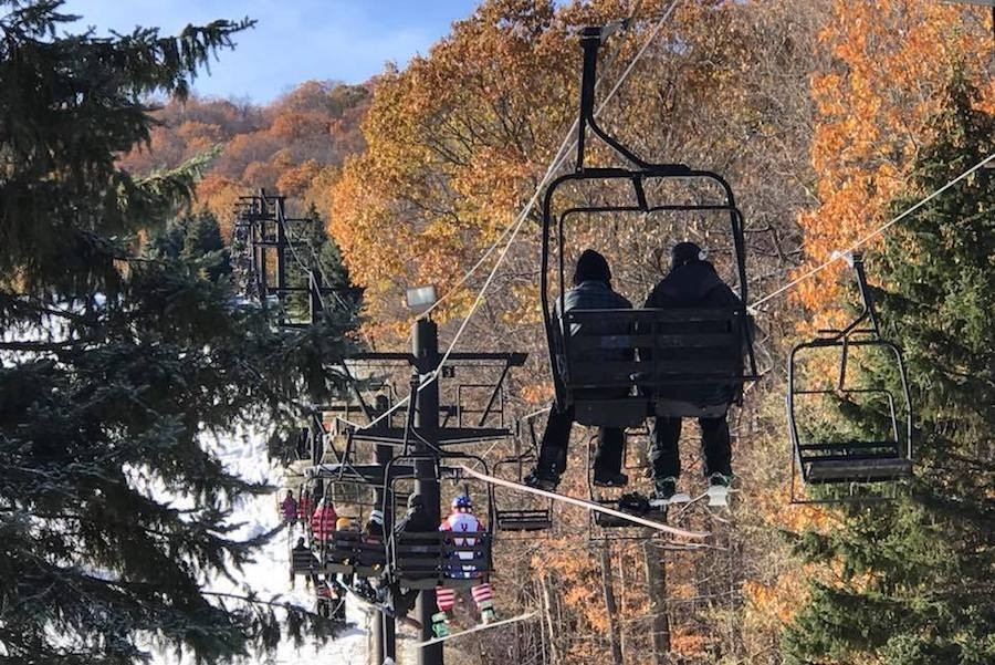Winter skiing with a fall foliage background at Bristol. (Drew Broderick)