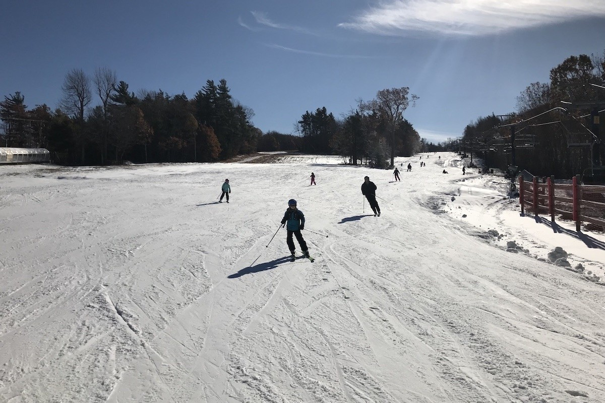 Skiers enjoy a run down Wachusett's Indian Summer Trail on Sunday. (Wachusett)