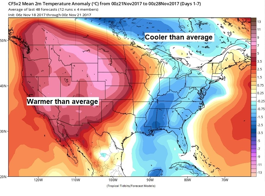 Temperatures compared to average through Tuesday the 28th. (TropicalTidbits.com)