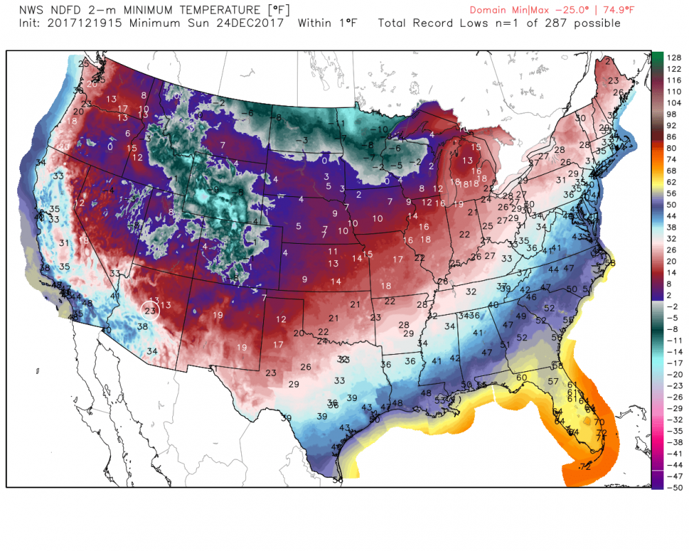 Temperatures Saturday, Sunday, and Christmas will be very cold across the Midwest to Rockies. Bundle up! (NOAA/NDFD)