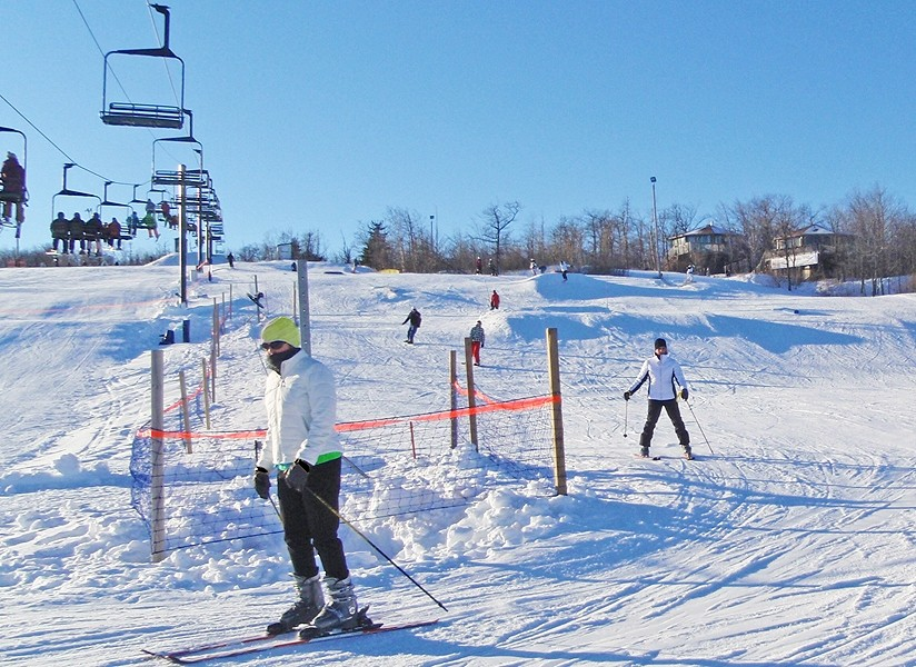 Skiers enjoy long runs down the 700-foot drop, big for the Midwest. (Spirit Mountain)