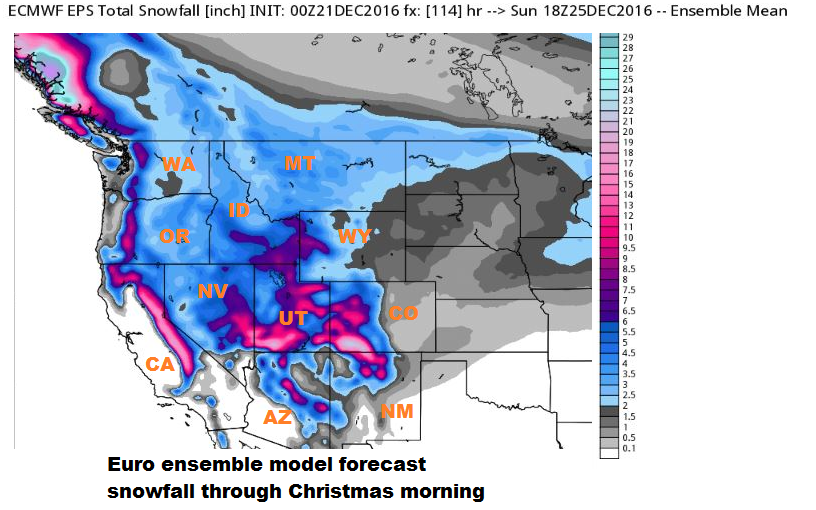 European ensemble model forecast snowfall.