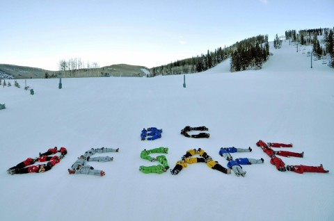 Beaver Creek lays out a safety message on slope. (NSAA/Facebook)