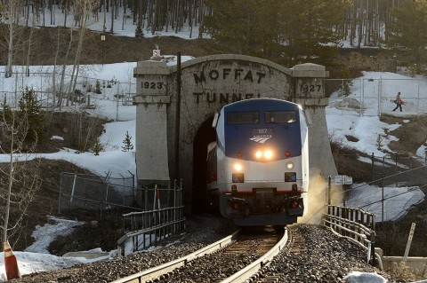 After going through the 6-mile Moffat Tunnel, the ski train emerges at Winter Park