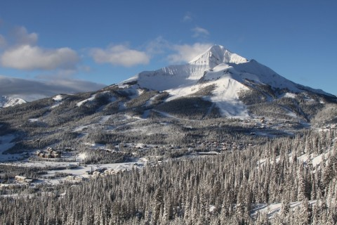 Iconic Lone Peak stands guard over the Big Sky resort village.