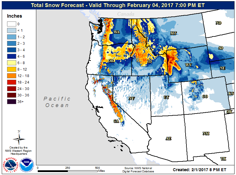 National Weather Service forecast snowfall through Feb. 4.