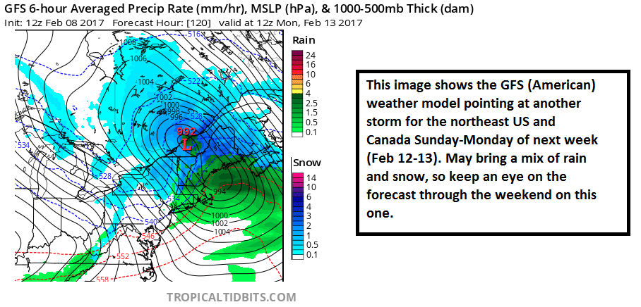Forecast model raw output of a possible storm for early next week.