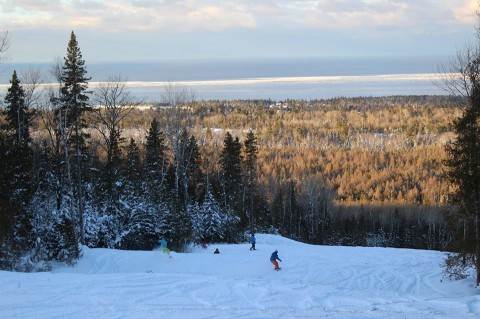 Backcountry slopes on Voodoo Mountains cat skiing overlook Lake Superior.