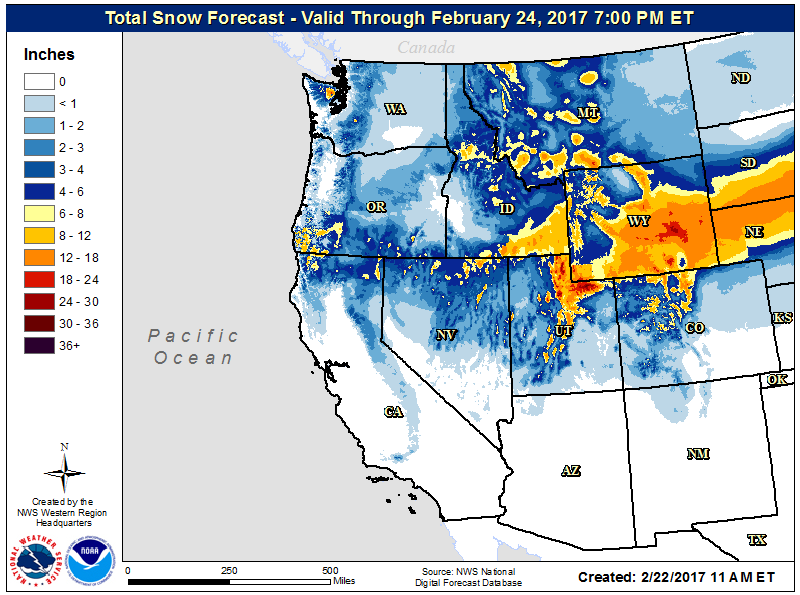 Forecast snowfall map from the National Weather Service for the western US through Friday, February 24 2017