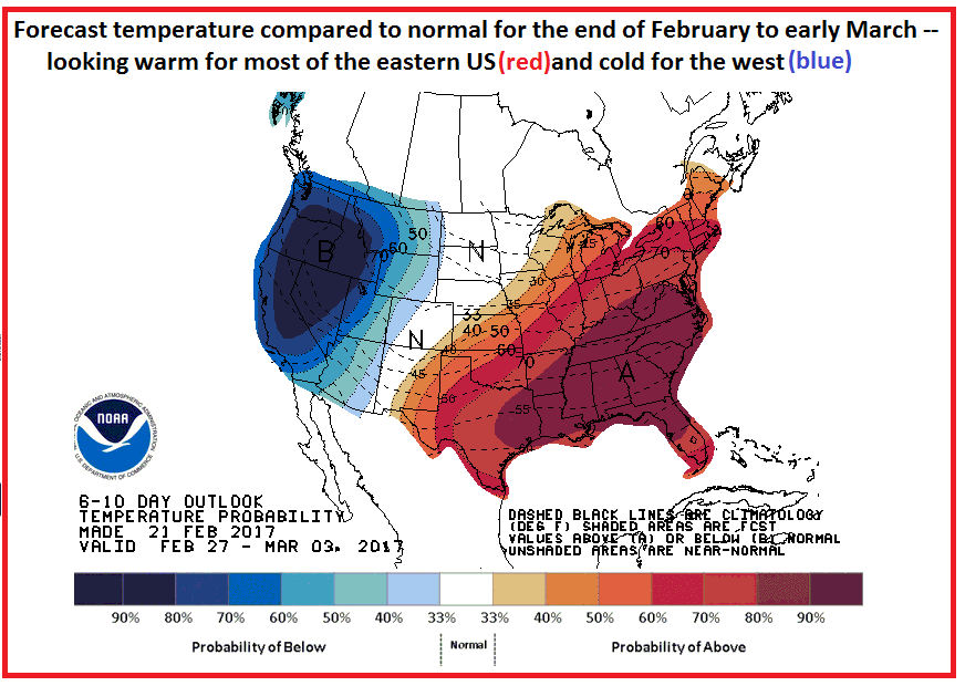 Temperature outlook for the end of February to early March