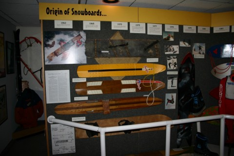 Origin of snowboards on display at Colorado Snowsports Museum, Vail.