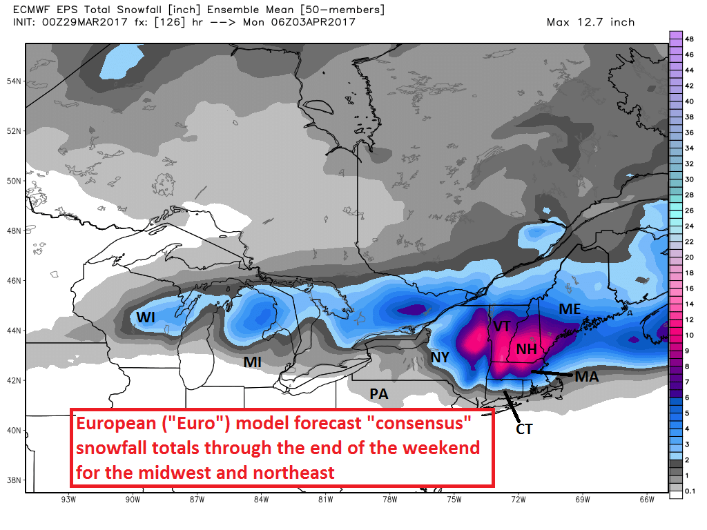 European model forecast snowfall totals in Northeast and Midwest through April 2.