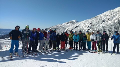 Attendees of Snowsport History Week get first tracks at Stowe.