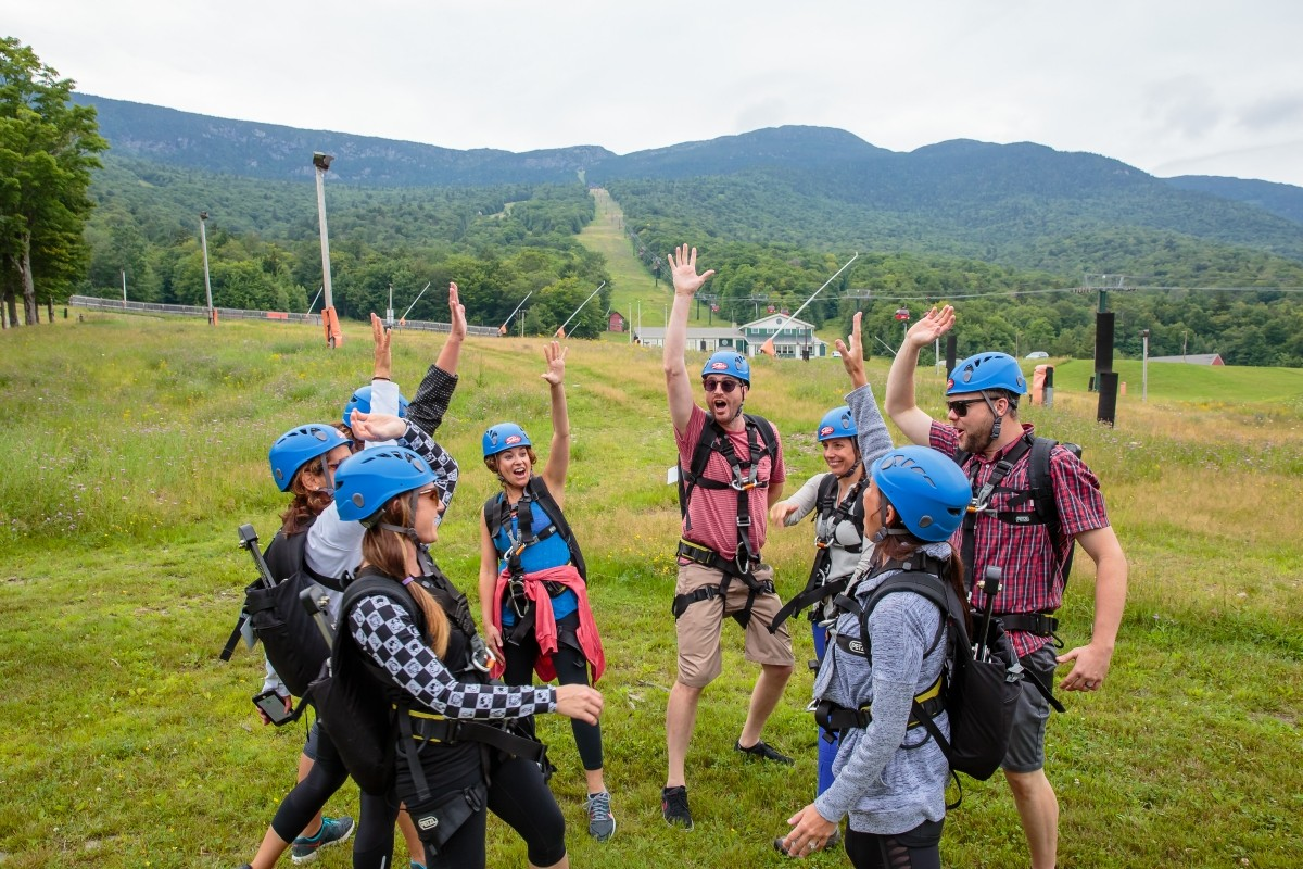 High fives for Stowe's zip tour. (Jesse Schloff/Stowe)