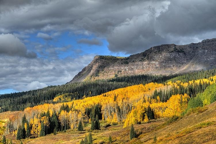 Aspens turn below snow-dusted Flattops. (Steamboat/Facebook)