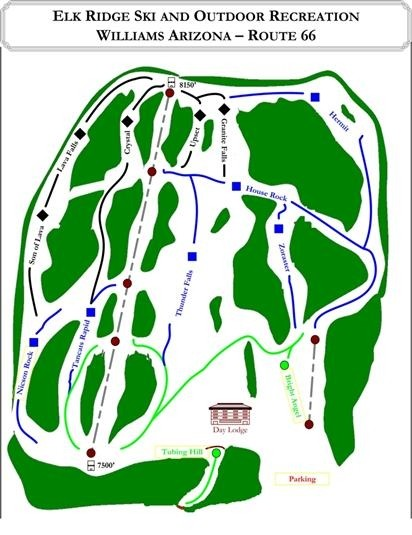 Elk Ridge has 10 trails, 600-foot vert and 37 acres of terrain (Elk Ridge Website)