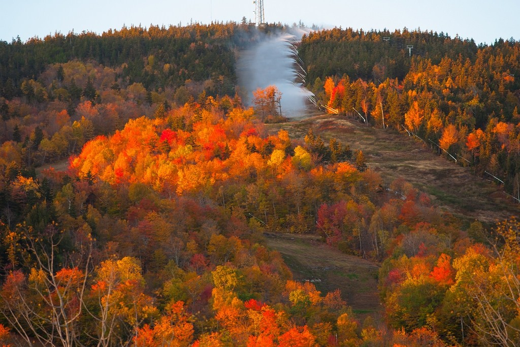 A golden morning for early snowmaking at Sunday River. (Sunday River)