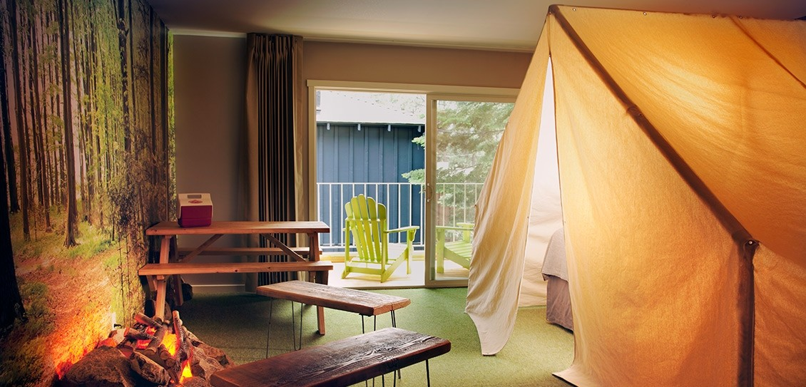 Sleep in a tent right in your hotel room at Base Camp South Tahoe. (Base Camp South Tahoe)