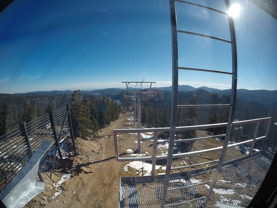 Towers up for new six-pack high-speed Alpenglow chair. (Eldora Mountain/Facebook)