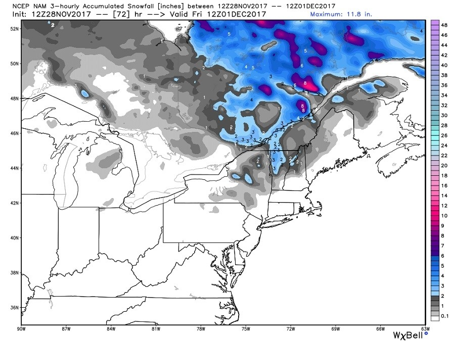 The North American Model snow forecast Thursday night into Friday, Dec. 1 for the Northeast showing a quick 2-4