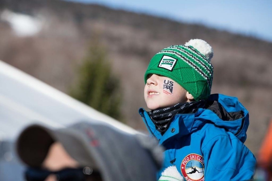 A young Pico Ski Club member watches the races. (Killington)