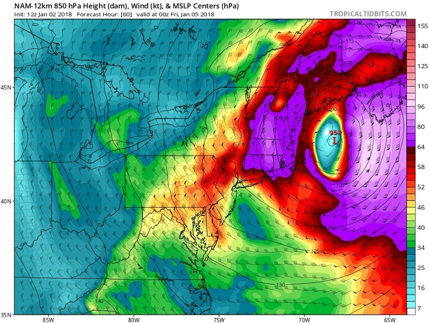 Wind forecast roughly 5,000 feet above sea level shows 70 mph winds Thursday night. (Tropicaltidbits)