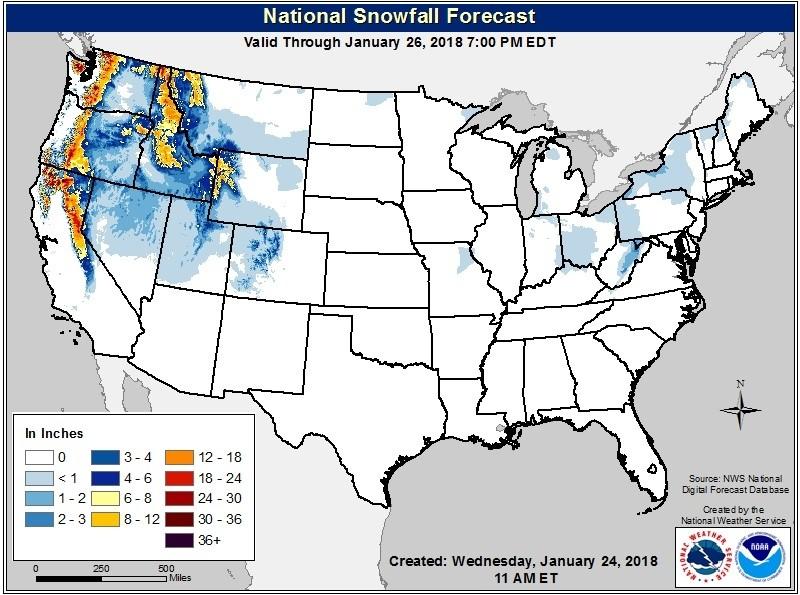 Forecast snowfall between Wednesday-Friday, January 24-26. Orange is 12
