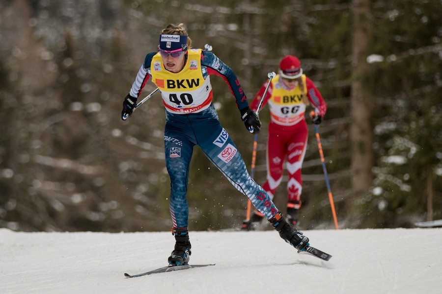 Jessie Diggins (bib 40) racing in a World Cup in Davos in December. (Sarah Brunson/U.S. Ski & Snowboard)