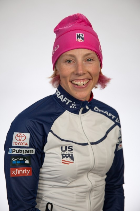 Kikkan Randall's pink dyed hair is just one of her colorful attributes. (Sarah Brunson/U.S. Ski & Snowboard)