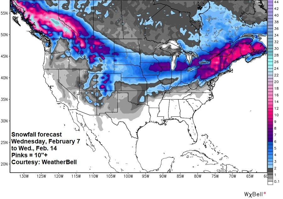 National snowfall forecast this week. (Weatherbell)