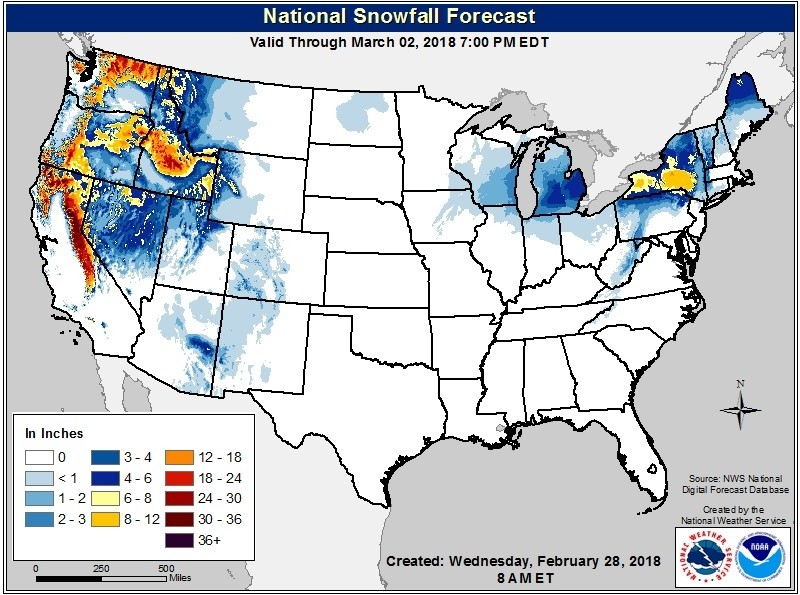 Snowfall forecast through Friday, March 2. (NOAA/NWS)