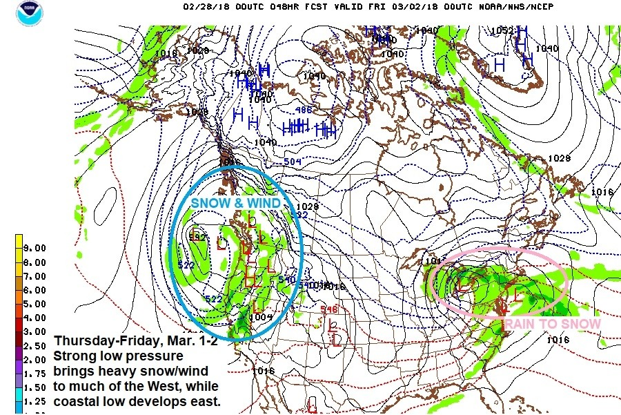 Surface weather map into Friday, March 2. (NOAA/NCEP)