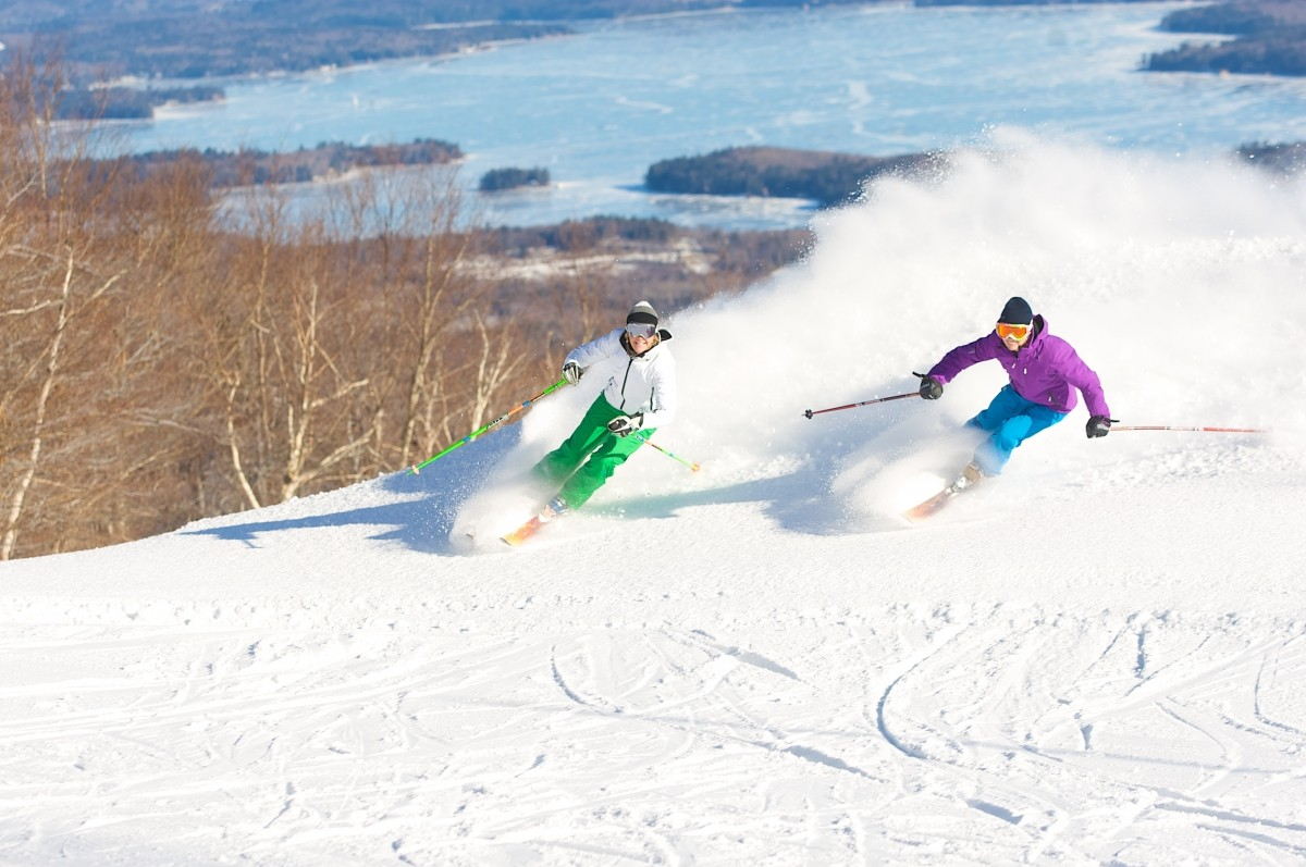 Mount Sunapee skiers are treated to views of Lake Sunapee. (Mount Sunapee)