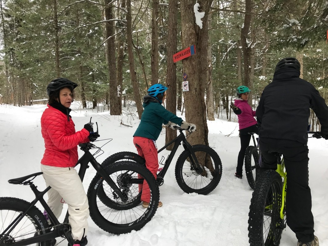 Fat biking at Kingdom Trails, NASJA members experience fat bikes at Kingdom Trails. (Roger Lohr)
