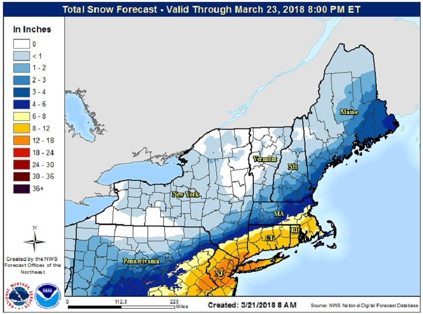 Snowfall through Friday, March 23. (NOAA/NWS)