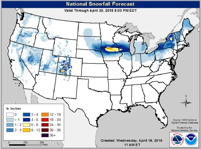 (Picture National Snowfall) A few areas of new snow through Friday the 20th. (NOAA/NWS)